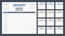 Calendar For 2022 Starts Sunday, Vector Calendar Design 2022 Year