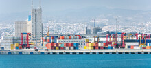 Container Yard With Straddle Carriers And Other Facilities In Cargo Terminal Of Limassol Port, Cyprus
