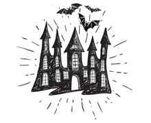 Halloween, Old House. Hand Drawn  Illustration. Vector