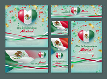 Happy Independence Day Of Mexico Vector Banner Set. 16 De Septiembre Viva La Independencia Mexico Banner, Invitation, Greeting Card, Flyer, Cover With Mexican National Flag Realistic Illustration