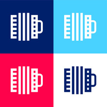 Accordion Blue And Red Four Color Minimal Icon Set