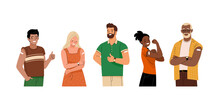 Group Of Vaccinated People. Vector Illustration Of Diverse Cartoon Smiling Men And Women With With A Patch On The Shoulder. Isolated On White