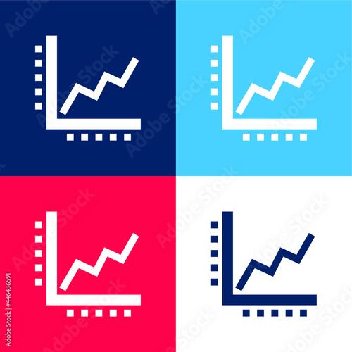 Fotografia Ascending Line Graphic blue and red four color minimal icon set