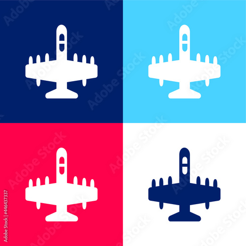 Fotografie, Tablou Big Bombardier blue and red four color minimal icon set