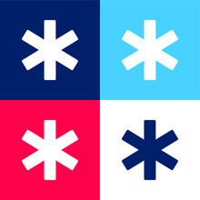 Asterisk Blue And Red Four Color Minimal Icon Set
