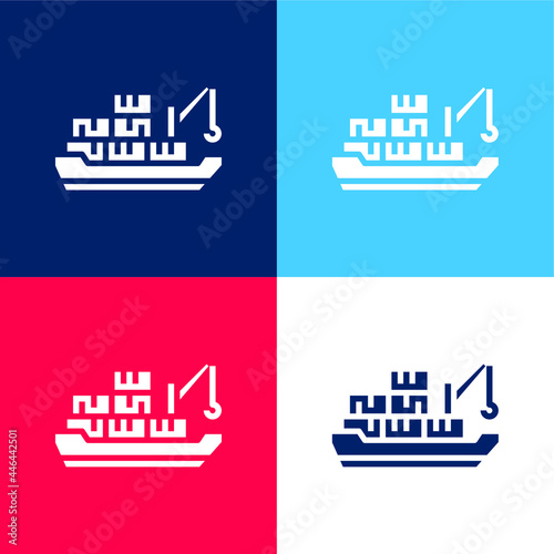 Barge blue and red four color minimal icon set Fotobehang