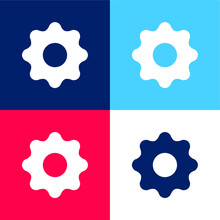 Black Settings Button Blue And Red Four Color Minimal Icon Set