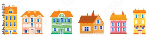 Murais de parede Set houses cottage home front view, colorful real estate
