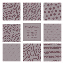Dusty Lavender Seamless Patterns Collection With Brush Stroke Elements