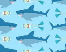 Shark And Skeleton Diver Pattern Seamless. Marine Predator Ate Frogman Background. Diver's Death Texture