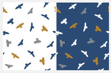 Abstract Seamless Vector Patterns  With Hand Drwn Flying Birds Isolated On A White And Dark Blue Background. Abstract Crows Print. Simple Irregular Repeatable Design With Birds.