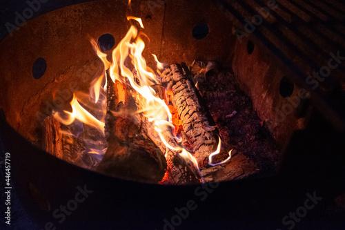 Fototapeta Wood and flames of a campfire