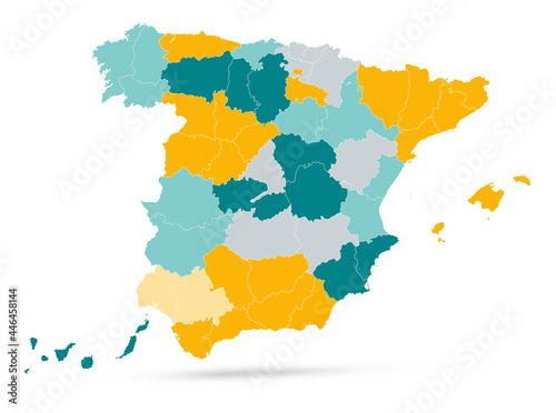 Empty Spain Map on isolated on white