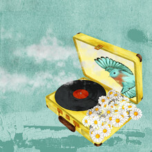 Suitcase With Vinyl, Daisies And Pastel Blue Background, Made With Retro Style Texture. A Bird In Flight Comes Out Of The Suitcase.