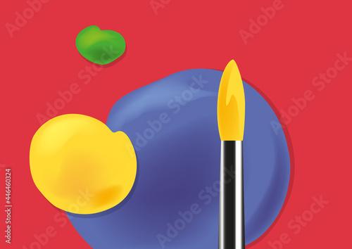 Fotografie, Obraz Fond sur le thème des beaux arts, avec un pinceau et des touches de peinture de couleurs vives