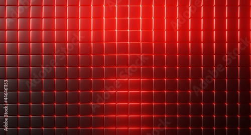 Czarno czerwone tło w kratkę. Neon czerwony. 3d rendered