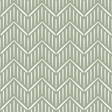 Hand Drawn Style Brush Strokes, Modern Boho Chevron Print Design. Seamless Pattern Vector. Stripes And Zig Zag Motifs. Wrapping Paper, Background, Fabric Design. Sage Green Olive Color.