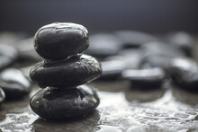 Closeup Shot Of Wet Rocks On A Blurred Background