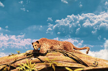 Cheetah Resting On A Tree Trunk,3d Rendering