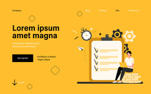 Tiny Man Checking To Do List Via Laptop. Clock, Coin, Work Flat Vector Illustration. Time Management And Business Concept For Banner, Website Design Or Landing Web Page