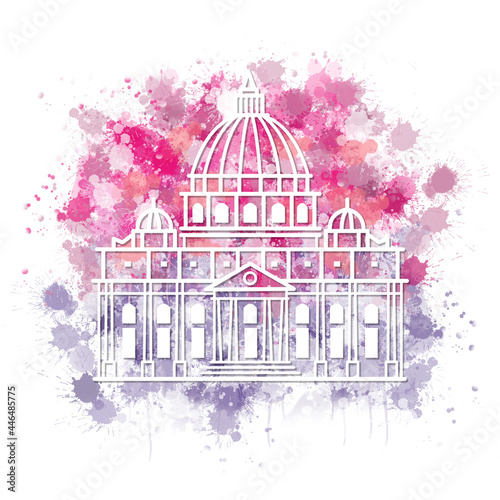 Architecture of Saint Peters Basilica in Vatican City Italy watercolor doodle Fotobehang