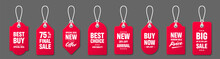 Realistic Red Price Tags With White String On Gray Background. Special Offer Or Shopping Discount Label. Retail Paper Sticker. Promotional Sale Badge. Vector Illustration.