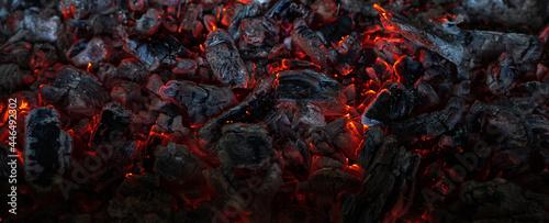 Tela Burning coals in the dark, smoldering coal