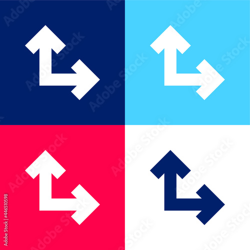 Obraz na plátně Arrows In Right Angle blue and red four color minimal icon set