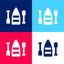 Boat Blue And Red Four Color Minimal Icon Set