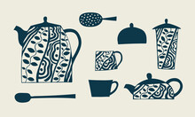Set Of Vector Images Of Tea Utensils, Teapots, Cups, Sugar Bowl, Spoon, Strainer. Blue Pattern, Beige Background. Hand Drawing
