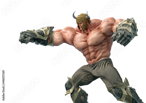 Wallpaper Mural barbarian man doing a punch pose side view
