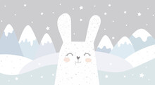 A Hare On The Background Of Mountains, Cute Animals. Photo Wallpapers For The Nursery. Magic Mountains. Children's Drawing. Children's Wallpapers.