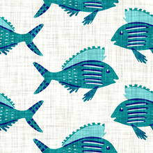 Aegean Teal Shoal Of Fish Linen Nautical Texture Background. Summer Coastal Living Style Swatches. Under The Sea Life  Swimming Fishes Material.  2 Tone Blue Dyed Textile Seamless Pattern.