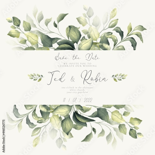 Canvas-taulu lovely save date invitation with watercolor leaves design vector illustration