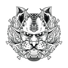 Tattoo French Bulldog Graphic Dog, Abstract Vector Illustrationline Art Black And White