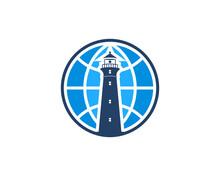 Lighthouse In The Globe Logo