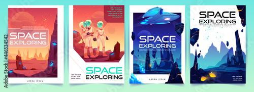 Canvas Space exploring banners set with alien landscape