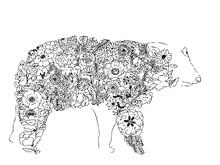 花や葉で作ったシロクマのアートイラスト