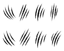Animal Claw Scratches Mark Set. Cat Tiger Scratches Paw Shape. Vector Illustration