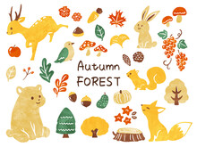 Illustration Of Animals In Autumn Forest