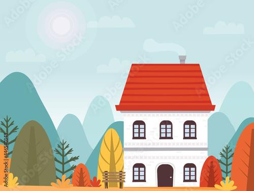 Murais de parede house on background of autumn landscape