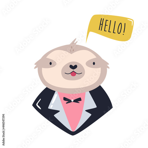 Fototapeta premium Funny illustration of smiling sloth wearing evening costume.