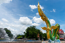 Wat Lamduan Temple, Mueang Nong Khai District Nong Khai Province,Thailand - July 1 Y 2021: Low Angle Of Green Naga Statue At The Mekong River. Most Famous Landmark