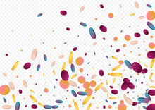 Colorful Polka Flying Panoramic Grey Background.