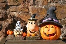 A Shiny Halloween Pumpkins Made Of Ceramic.
