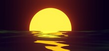 Sunset Yellow Sun Reflection On Water Surface On Background Night Sky. Tropical Sea Landscape With Moon Path In Orange Light Of Evening Sun 3d Illustration. Sunrise Over Ocean Or Lake, Summer Seascape