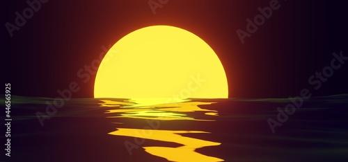 Obraz na plátně Sunset yellow sun reflection on water surface on background night sky