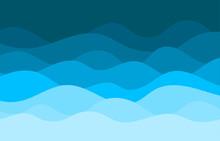 Blue Water Wave Sea Ocean Curve Lines Pattern Background Vector