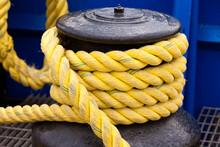 Yellow Rope On Marine Winch Capstan