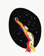 Vector Illustration Of Nude Woman Standing Against Starry Sky